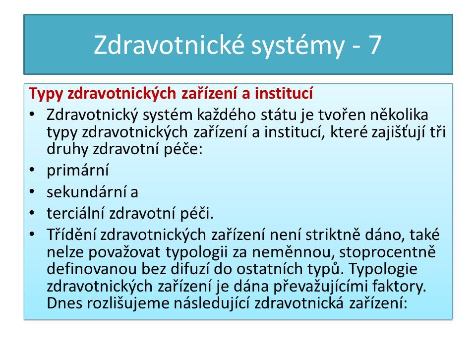 Zdravotnické systémy - 7 Typy zdravotnických zařízení a institucí Zdravotnický systém každého státu je tvořen několika typy zdravotnických zařízení a institucí, které zajišťují tři druhy zdravotní péče: primární sekundární a terciální zdravotní péči.