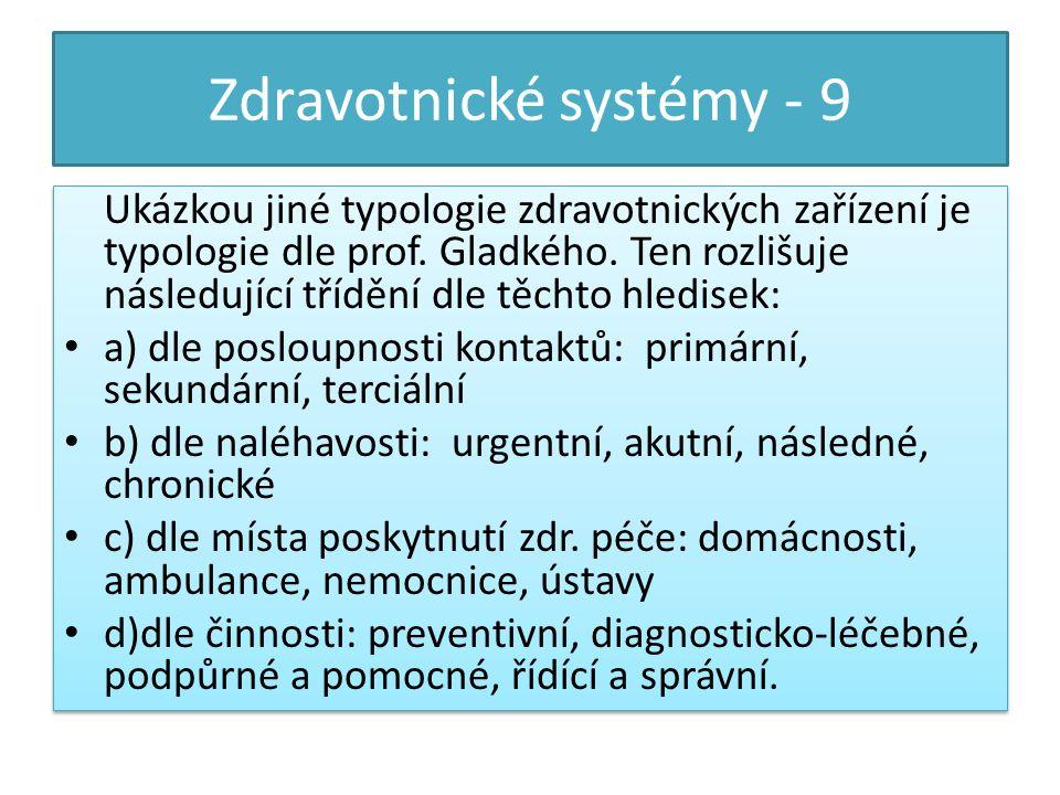 Zdravotnické systémy - 9 Ukázkou jiné typologie zdravotnických zařízení je typologie dle prof.