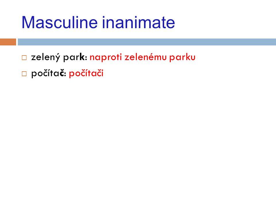 Masculine animate  Hard: dobrý doktor-dobrému doktorovi  český pacient-českému pacientovi  gynekolog, kardiolog: Půjdu ke gynekologovi, ke kardiologovi.