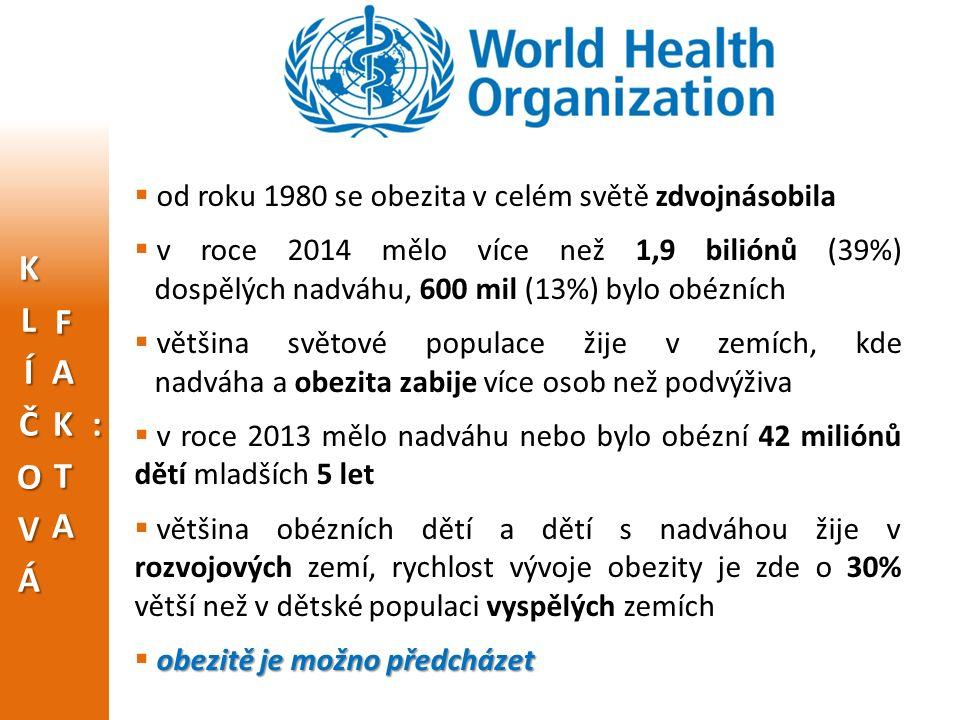  od roku 1980 se obezita v celém světě zdvojnásobila  v roce 2014 mělo více než 1,9 biliónů (39%) dospělých nadváhu, 600 mil (13%) bylo obézních  většina světové populace žije v zemích, kde nadváha a obezita zabije více osob než podvýživa  v roce 2013 mělo nadváhu nebo bylo obézní 42 miliónů dětí mladších 5 let  většina obézních dětí a dětí s nadváhou žije v rozvojových zemí, rychlost vývoje obezity je zde o 30% větší než v dětské populaci vyspělých zemích obezitě je možno předcházet  obezitě je možno předcházet