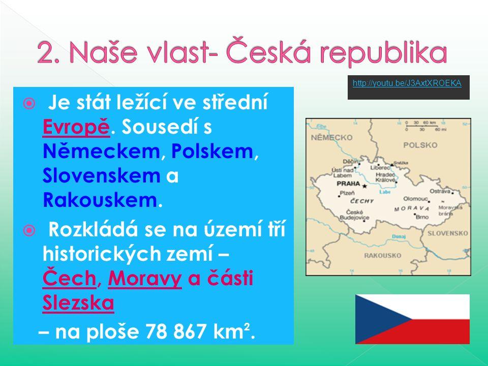  Je stát ležící ve střední Evropě.Sousedí s Německem, Polskem, Slovenskem a Rakouskem.