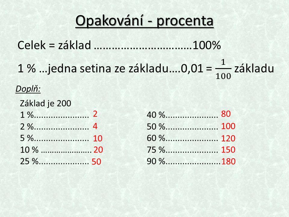 Opakování - procenta Doplň: Základ je 200 1 %.......................