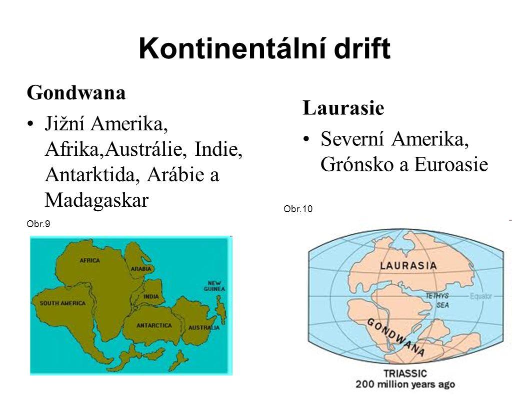 Kontinentální drift Gondwana Jižní Amerika, Afrika,Austrálie, Indie, Antarktida, Arábie a Madagaskar Laurasie Severní Amerika, Grónsko a Euroasie Obr.9 Obr.10