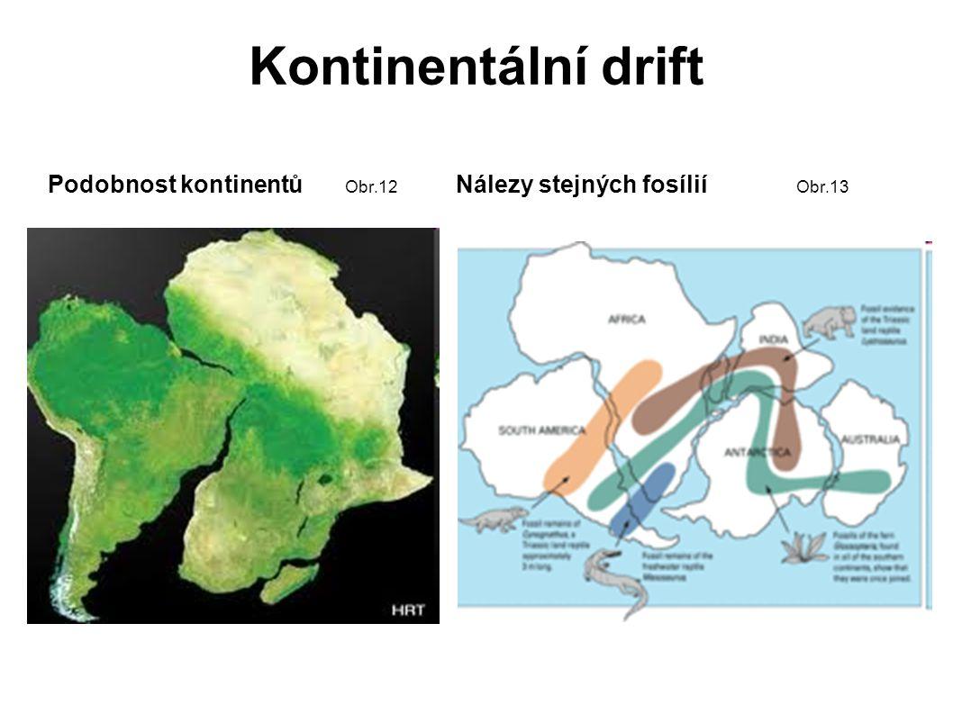 Kontinentální drift Podobnost kontinentů Obr.12 Nálezy stejných fosílií Obr.13