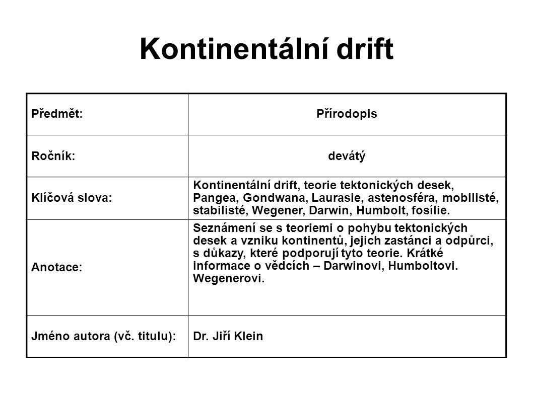 Kontinentální drift Předmět:Přírodopis Ročník:devátý Klíčová slova: Kontinentální drift, teorie tektonických desek, Pangea, Gondwana, Laurasie, astenosféra, mobilisté, stabilisté, Wegener, Darwin, Humbolt, fosílie.