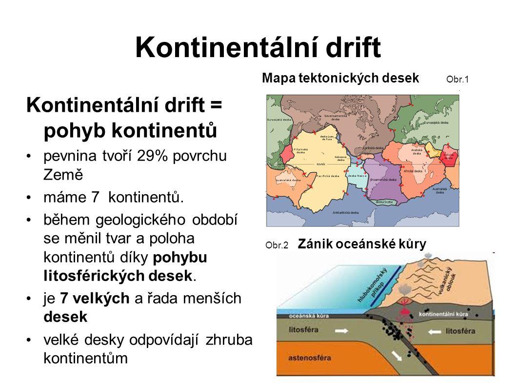 Kontinentální drift Kontinentální drift = pohyb kontinentů pevnina tvoří 29% povrchu Země máme 7 kontinentů.