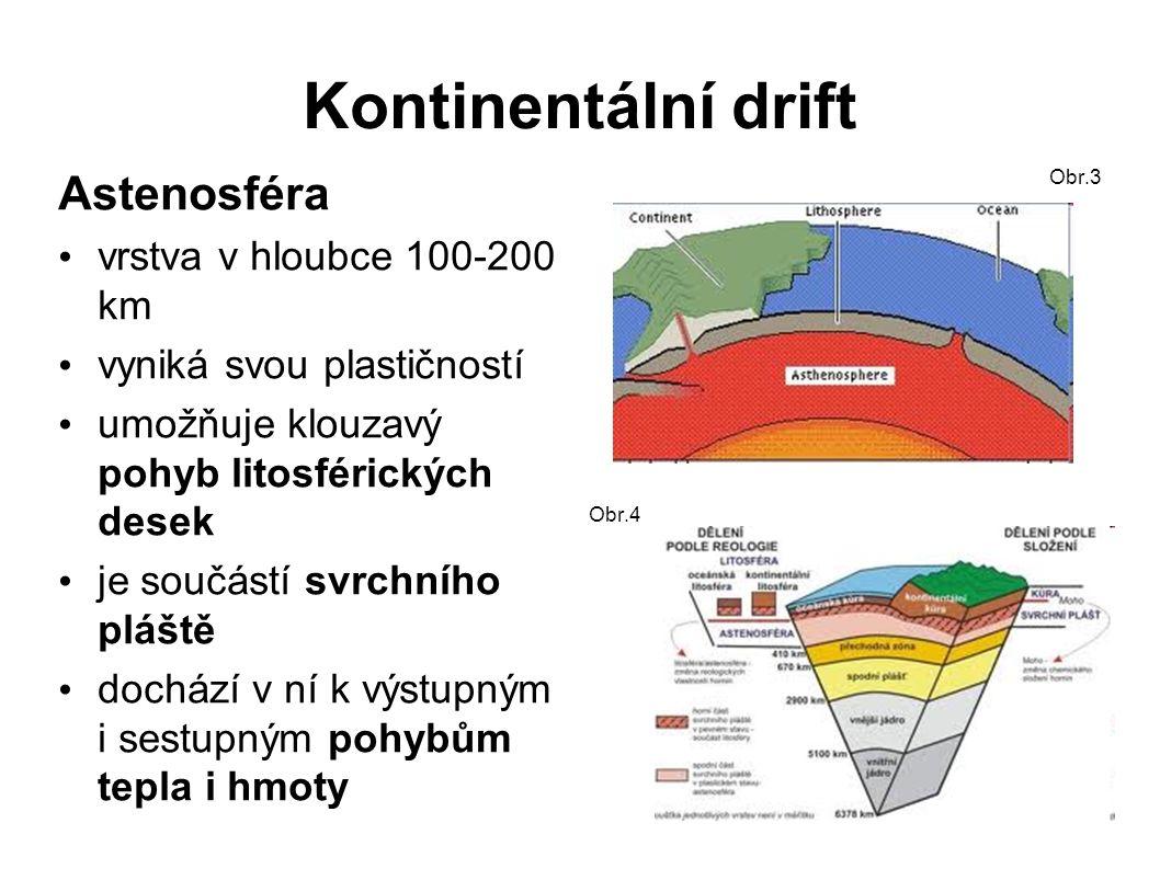 Kontinentální drift Astenosféra vrstva v hloubce 100-200 km vyniká svou plastičností umožňuje klouzavý pohyb litosférických desek je součástí svrchního pláště dochází v ní k výstupným i sestupným pohybům tepla i hmoty Obr.3 Obr.4