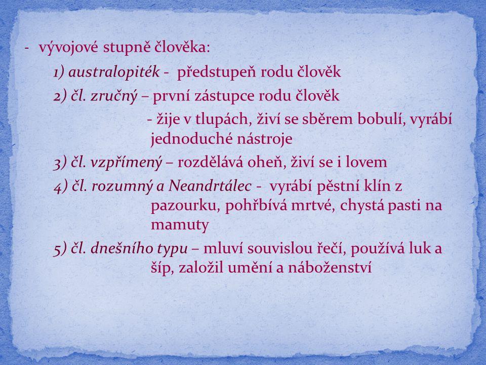 - vývojové stupně člověka: 1) australopiték - předstupeň rodu člověk 2) čl.