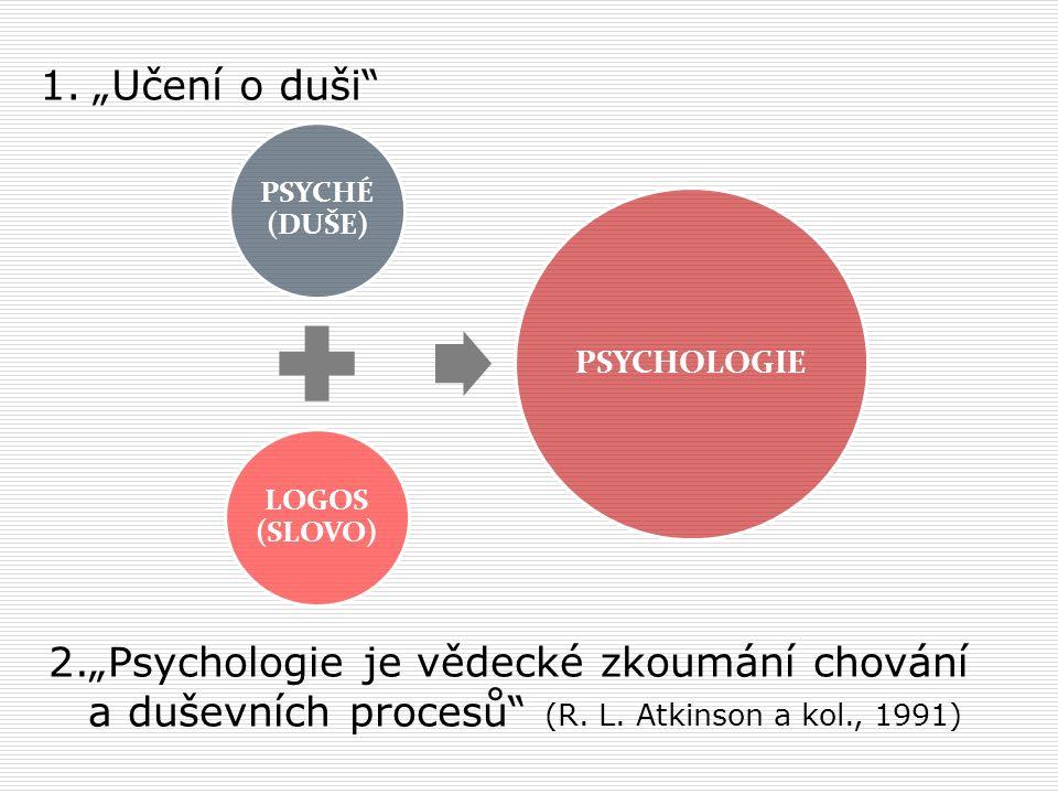 """1.""""Učení o duši 2.""""Psychologie je vědecké zkoumání chování a duševních procesů (R."""