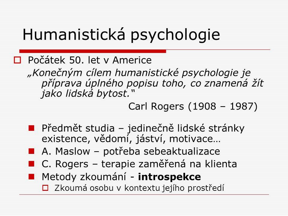Humanistická psychologie  Počátek 50.
