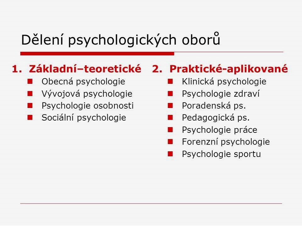 Dělení psychologických oborů 1.Základní–teoretické Obecná psychologie Vývojová psychologie Psychologie osobnosti Sociální psychologie 2.Praktické-aplikované Klinická psychologie Psychologie zdraví Poradenská ps.