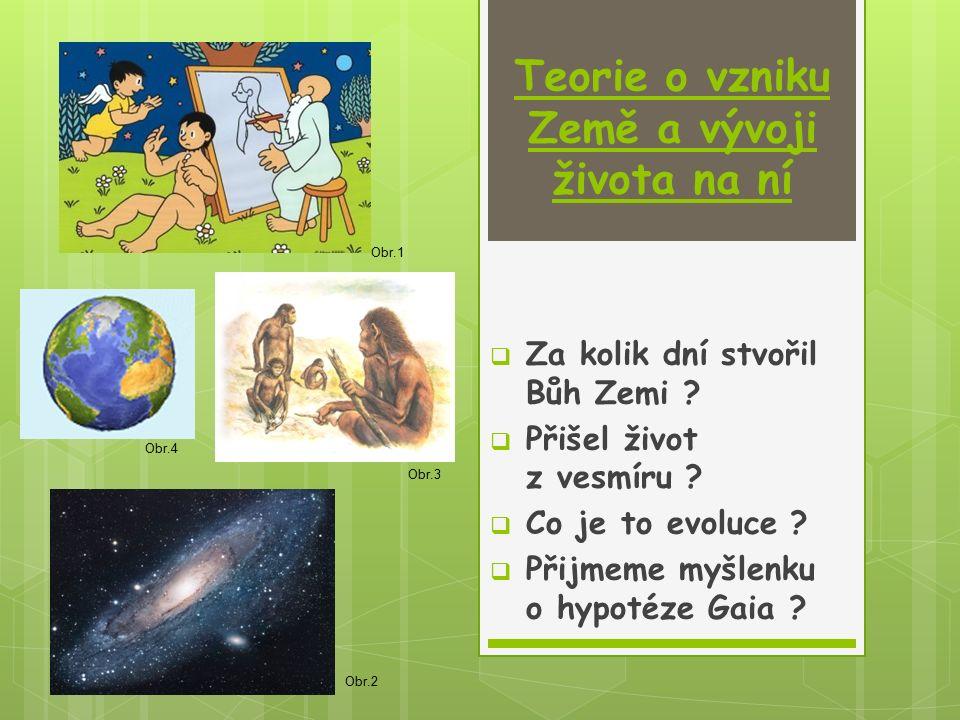 Teorie o vzniku Země a vývoji života na ní  Za kolik dní stvořil Bůh Zemi ?  Přišel život z vesmíru ?  Co je to evoluce ?  Přijmeme myšlenku o hyp