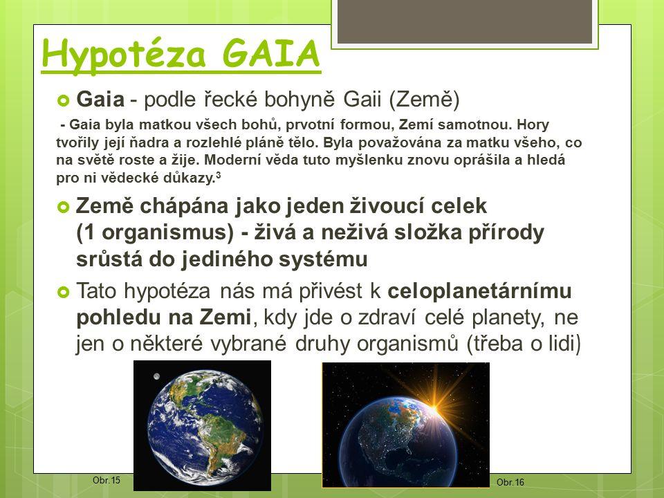 Hypotéza GAIA  Gaia - podle řecké bohyně Gaii (Země) - Gaia byla matkou všech bohů, prvotní formou, Zemí samotnou.