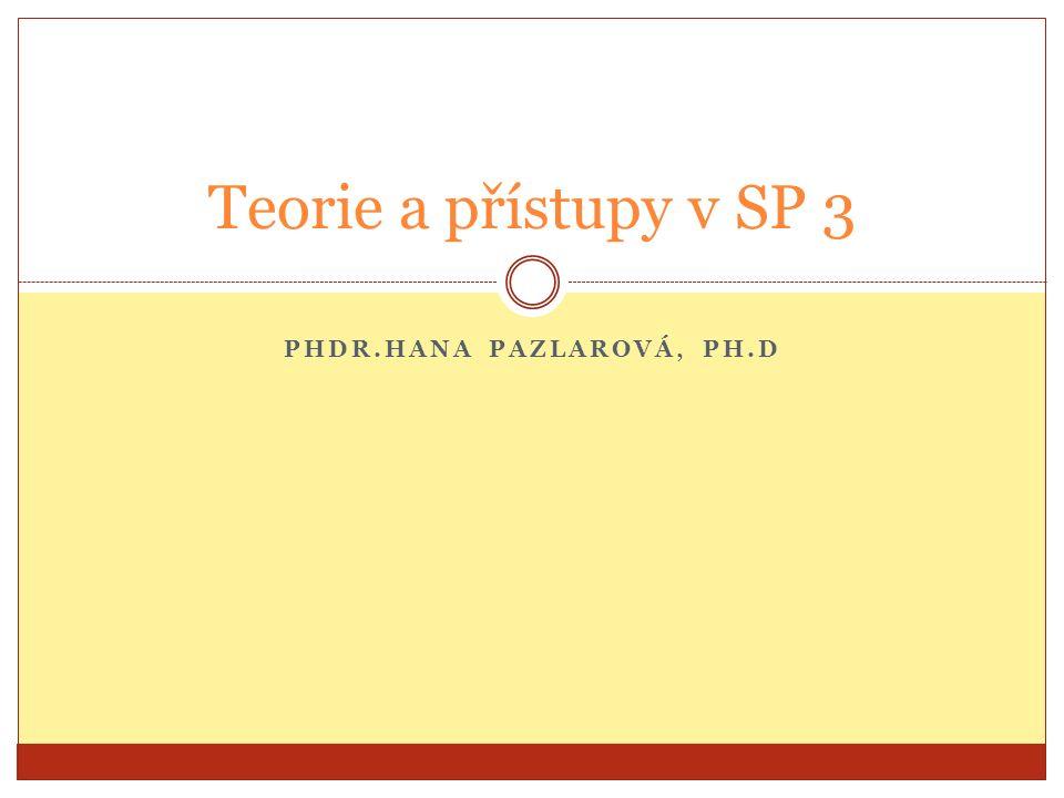 PHDR.HANA PAZLAROVÁ, PH.D Teorie a přístupy v SP 3