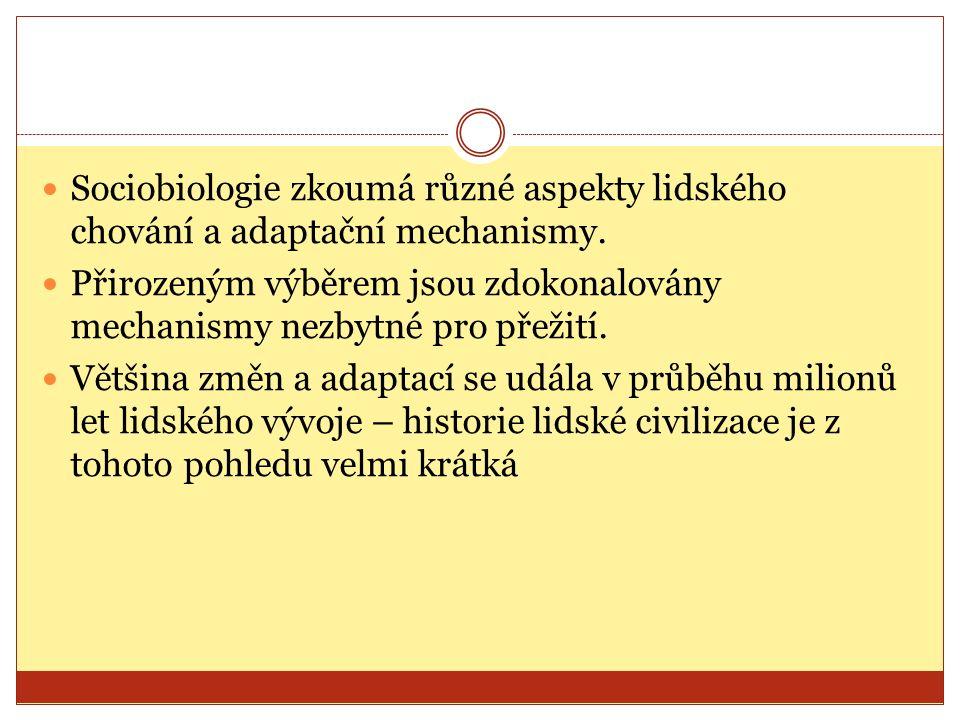 Sociobiologie zkoumá různé aspekty lidského chování a adaptační mechanismy.