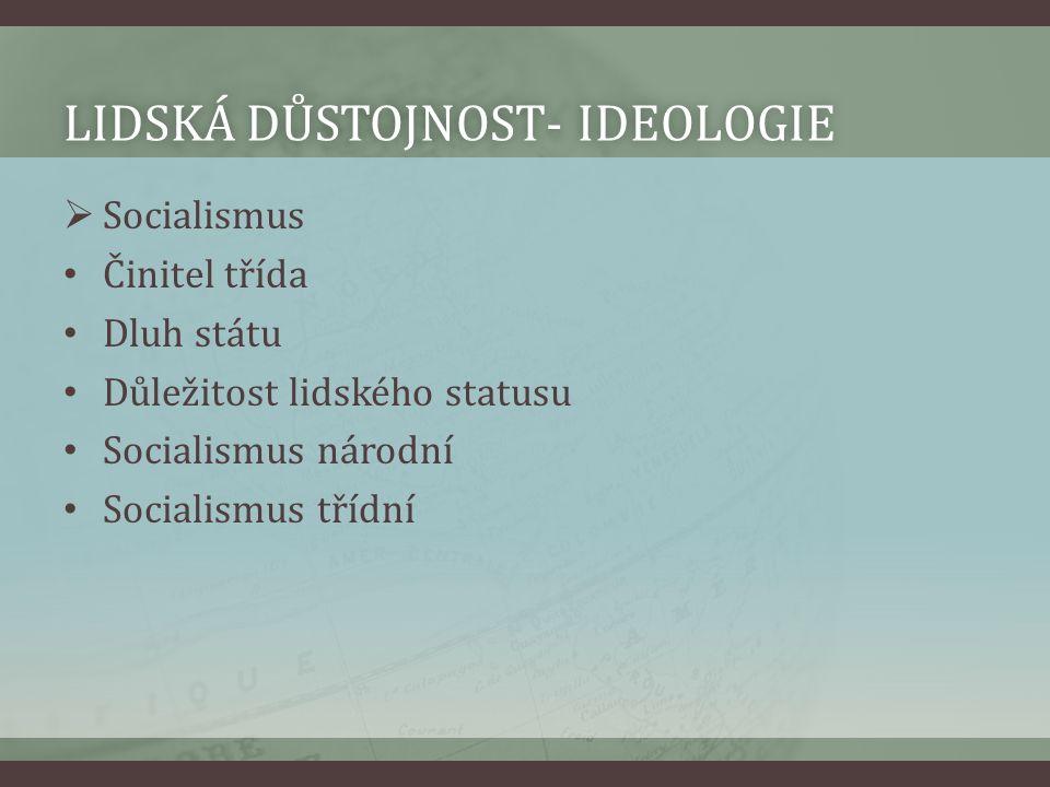 LIDSKÁ DŮSTOJNOST- IDEOLOGIELIDSKÁ DŮSTOJNOST- IDEOLOGIE  Socialismus Činitel třída Dluh státu Důležitost lidského statusu Socialismus národní Social