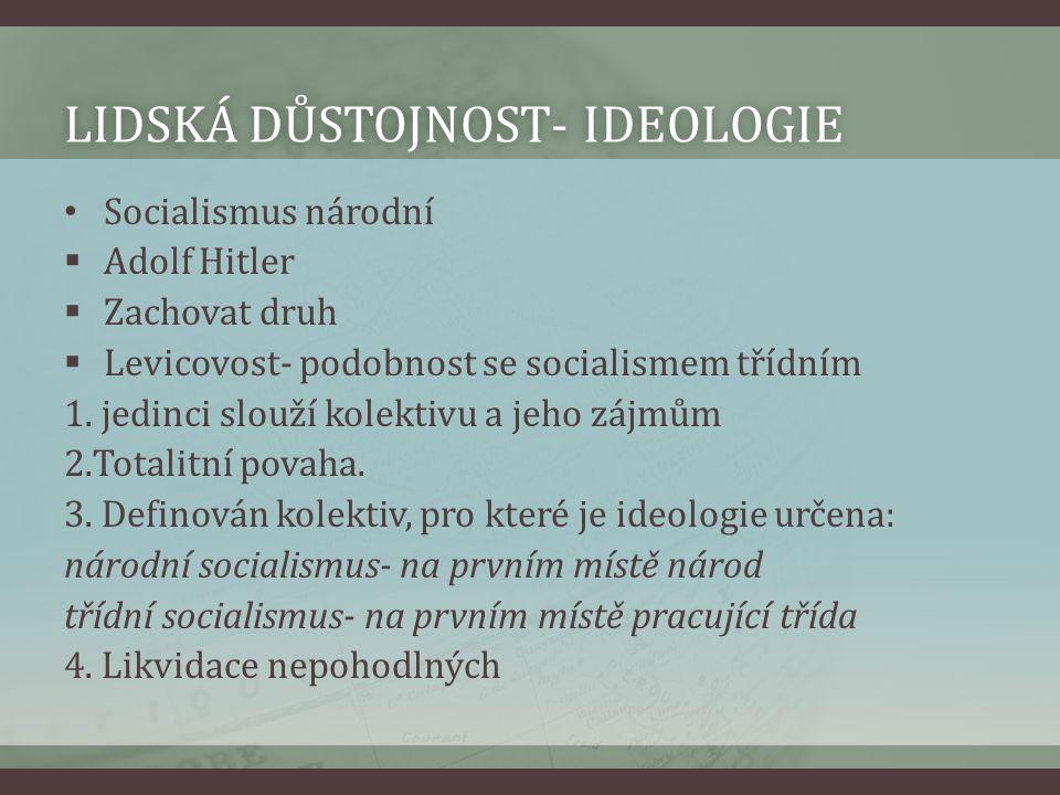 LIDSKÁ DŮSTOJNOST- IDEOLOGIELIDSKÁ DŮSTOJNOST- IDEOLOGIE Socialismus národní  Adolf Hitler  Zachovat druh  Levicovost- podobnost se socialismem tří