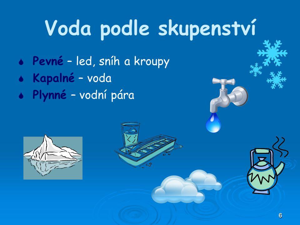 6 Voda podle skupenství   Pevné – led, sníh a kroupy   Kapalné – voda   Plynné – vodní pára