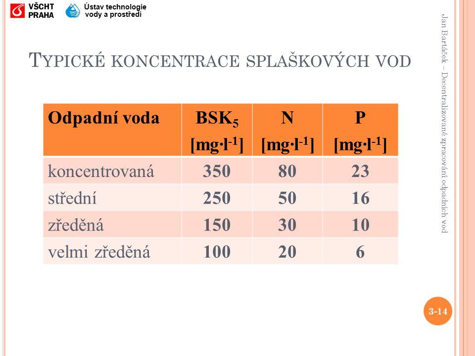 Jan Bartáček – Decentralizované zpracování odpadních vod Ústav technologie vody a prostředí T YPICKÉ KONCENTRACE SPLAŠKOVÝCH VOD Odpadní vodaBSK 5 [mg·l -1 ] N [mg·l -1 ] P [mg·l -1 ] koncentrovaná3508023 střední2505016 zředěná1503010 velmi zředěná100206 3-14