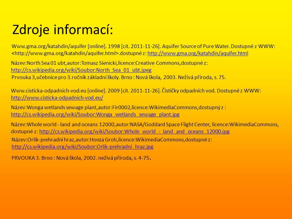 Zdroje informací: Prvouka 3,učebnice pro 3.ročník základní školy.