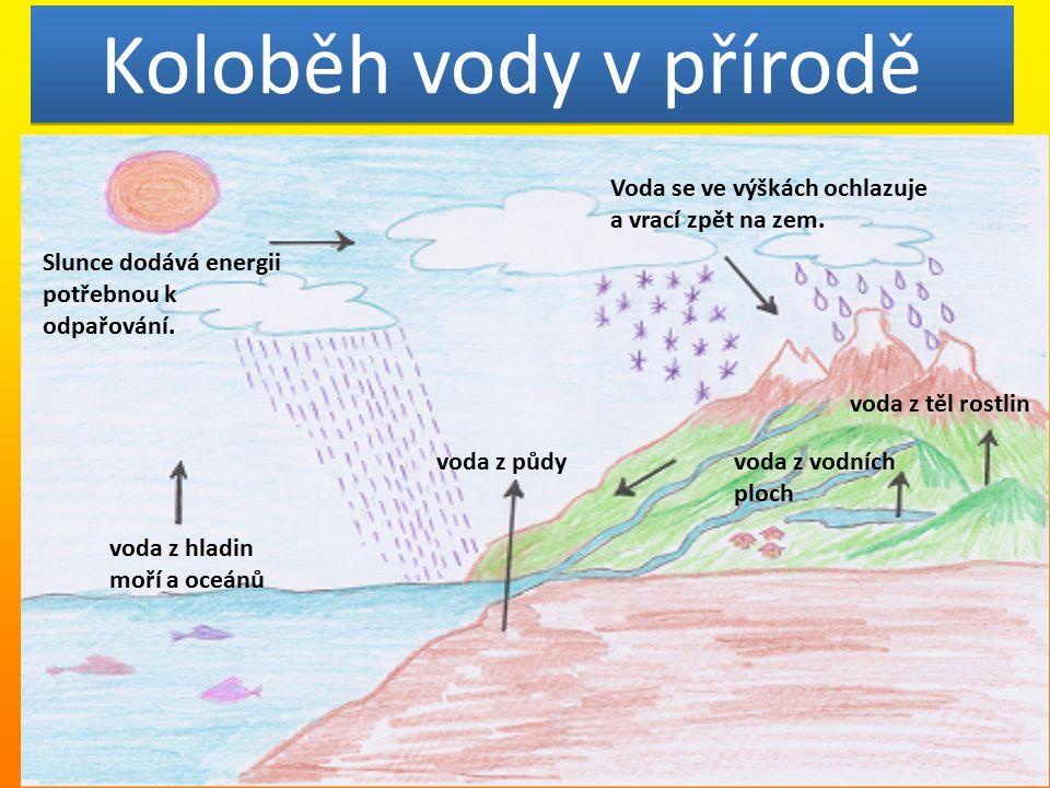 Koloběh vody v přírodě voda z půdy voda z vodních ploch voda z těl rostlin voda z hladin moří a oceánů Slunce dodává energii potřebnou k odpařování.