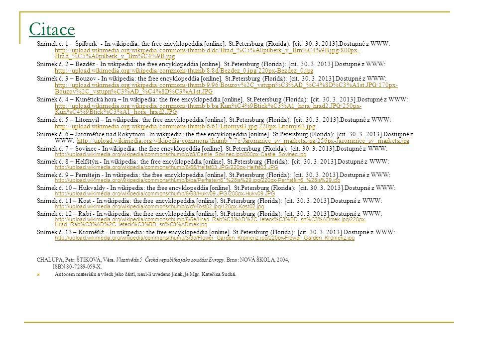 Citace Snímek č. 1 – Špilberk - In wikipedia: the free encyklopeddia [online].