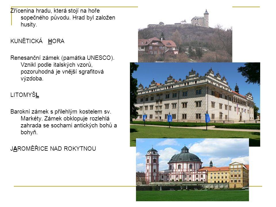 Zřícenina hradu, která stojí na hoře sopečného původu.
