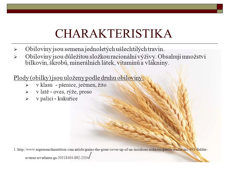 CHARAKTERISTIKA  Obiloviny jsou semena jednoletých ušlechtilých travin.