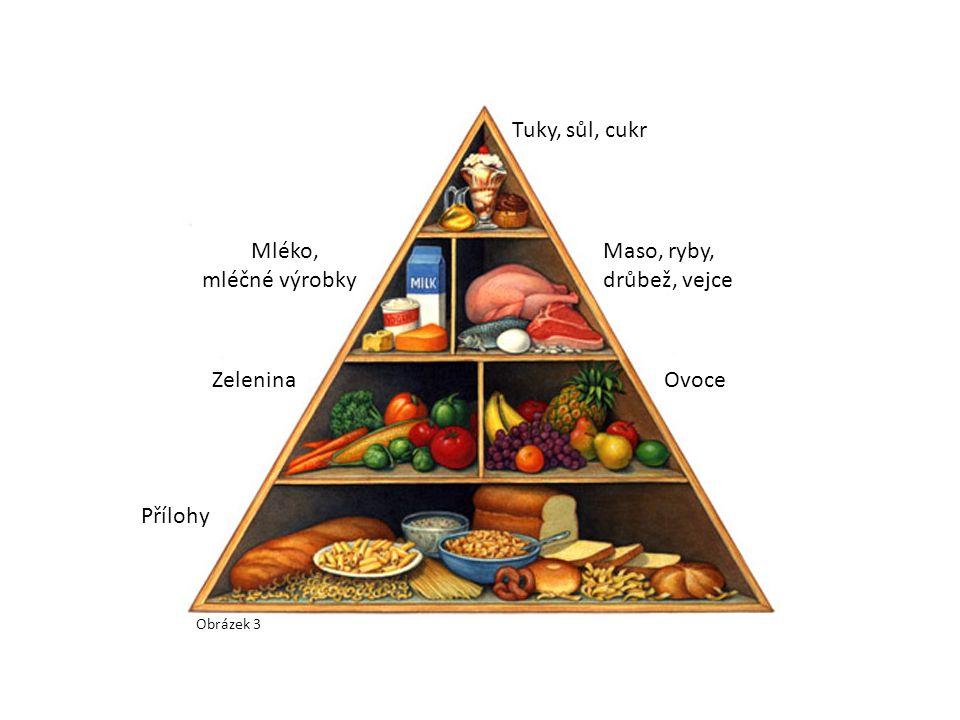 Obrázek 3 Přílohy ZeleninaOvoce Mléko, mléčné výrobky Maso, ryby, drůbež, vejce Tuky, sůl, cukr