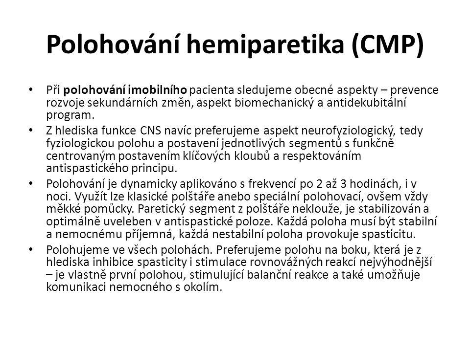 Polohování hemiparetika (CMP) Při polohování imobilního pacienta sledujeme obecné aspekty – prevence rozvoje sekundárních změn, aspekt biomechanický a antidekubitální program.