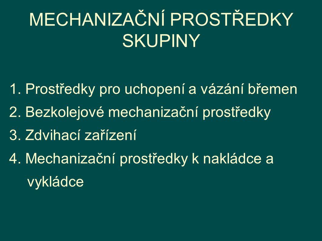 MECHANIZAČNÍ PROSTŘEDKY SKUPINY 1.Prostředky pro uchopení a vázání břemen 2.