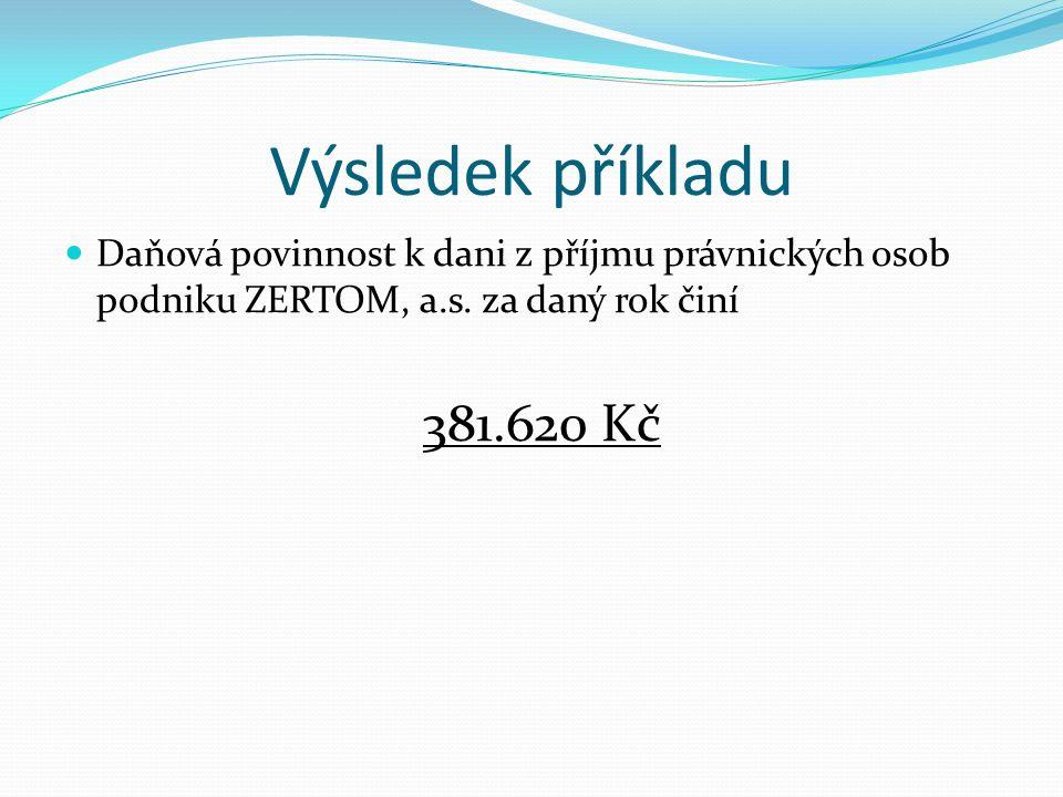 Výsledek příkladu Daňová povinnost k dani z příjmu právnických osob podniku ZERTOM, a.s.