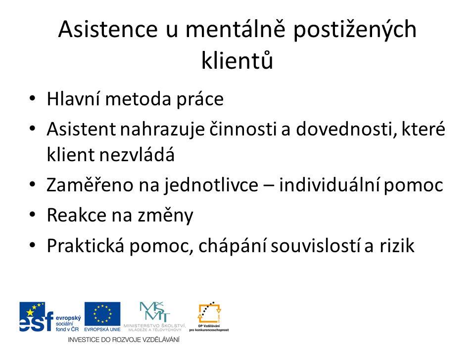 Asistence u mentálně postižených klientů Hlavní metoda práce Asistent nahrazuje činnosti a dovednosti, které klient nezvládá Zaměřeno na jednotlivce – individuální pomoc Reakce na změny Praktická pomoc, chápání souvislostí a rizik