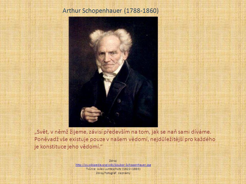 """Zdroj: http://cs.wikipedia.org/wiki/Soubor:Schopenhauer.jpg http://cs.wikipedia.org/wiki/Soubor:Schopenhauer.jpg Tvůrce: Jules Lunteschütz (1822–1893) Zdroj/Fotograf: neznámý Arthur Schopenhauer (1788-1860) """"Svět, v němž žijeme, závisí především na tom, jak se naň sami díváme."""