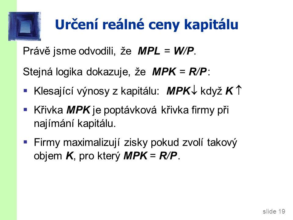 slide 19 Určení reálné ceny kapitálu Právě jsme odvodili, že MPL = W/P.