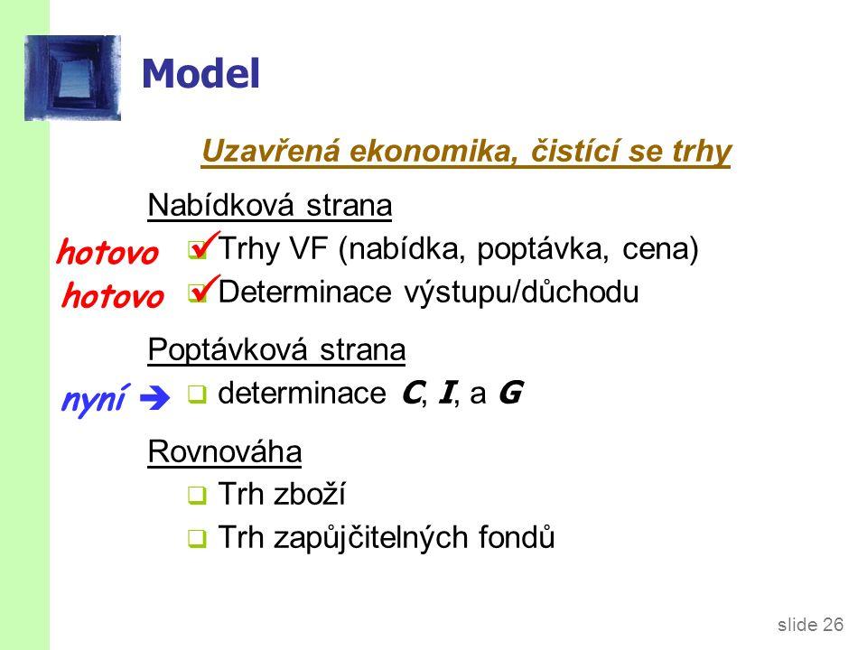 slide 26 Model Uzavřená ekonomika, čistící se trhy Nabídková strana  Trhy VF (nabídka, poptávka, cena)  Determinace výstupu/důchodu Poptávková strana  determinace C, I, a G Rovnováha  Trh zboží  Trh zapůjčitelných fondů hotovo nyní 