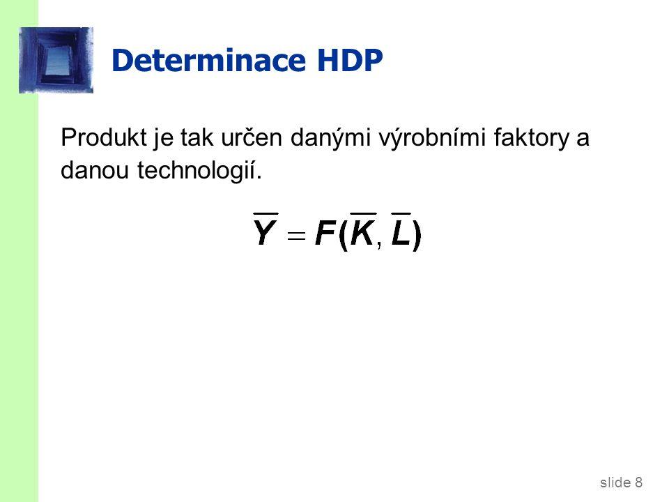 slide 8 Determinace HDP Produkt je tak určen danými výrobními faktory a danou technologií.