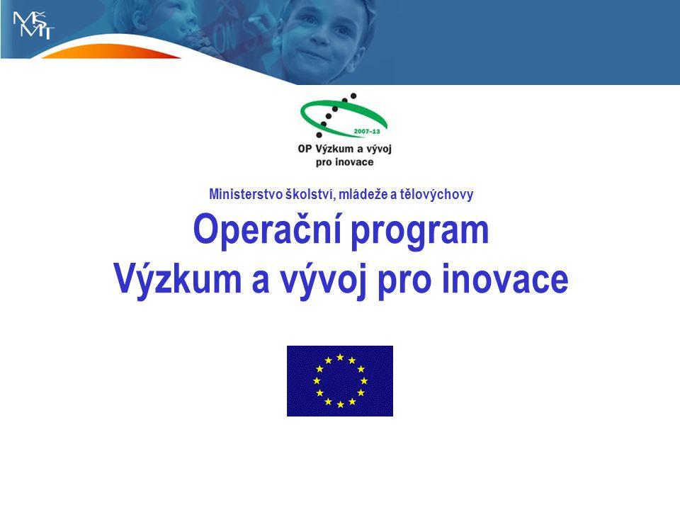 Ministerstvo školství, mládeže a tělovýchovy Operační program Výzkum a vývoj pro inovace