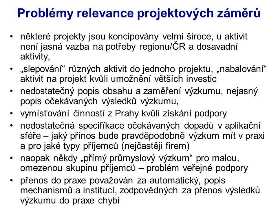 """Problémy relevance projektových záměrů některé projekty jsou koncipovány velmi široce, u aktivit není jasná vazba na potřeby regionu/ČR a dosavadní aktivity, """"slepování různých aktivit do jednoho projektu, """"nabalování aktivit na projekt kvůli umožnění větších investic nedostatečný popis obsahu a zaměření výzkumu, nejasný popis očekávaných výsledků výzkumu, vymísťování činností z Prahy kvůli získání podpory nedostatečná specifïkace očekávaných dopadů v aplikační sféře – jaký přínos bude pravděpodobně výzkum mít v praxi a pro jaké typy příjemců (nejčastěji firem) naopak někdy """"přímý průmyslový výzkum pro malou, omezenou skupinu příjemců – problém veřejné podpory přenos do praxe považován za automatický, popis mechanismů a institucí, zodpovědných za přenos výsledků výzkumu do praxe chybí"""