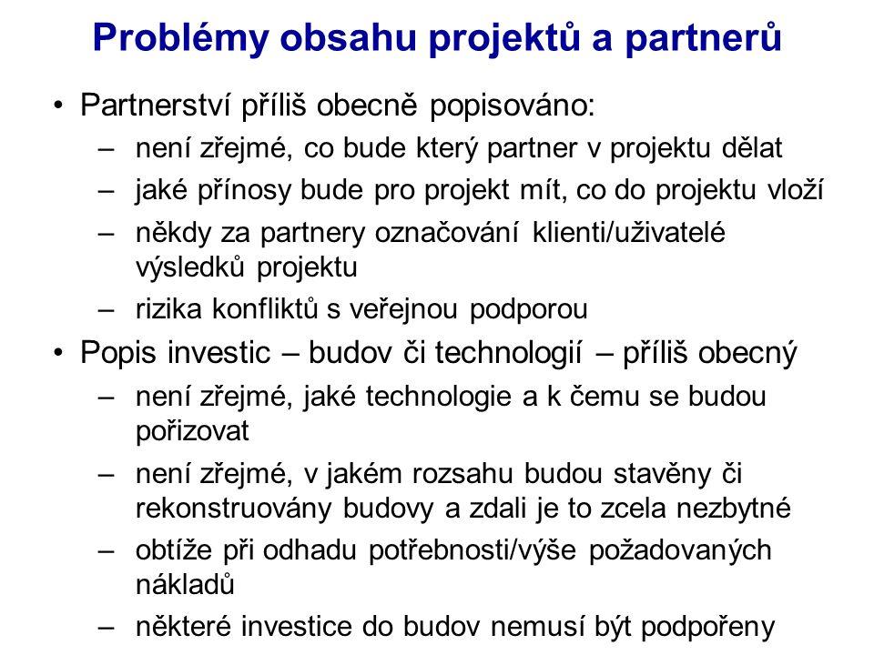 Partnerství příliš obecně popisováno: –není zřejmé, co bude který partner v projektu dělat –jaké přínosy bude pro projekt mít, co do projektu vloží –někdy za partnery označování klienti/uživatelé výsledků projektu –rizika konfliktů s veřejnou podporou Popis investic – budov či technologií – příliš obecný –není zřejmé, jaké technologie a k čemu se budou pořizovat –není zřejmé, v jakém rozsahu budou stavěny či rekonstruovány budovy a zdali je to zcela nezbytné –obtíže při odhadu potřebnosti/výše požadovaných nákladů –některé investice do budov nemusí být podpořeny Problémy obsahu projektů a partnerů