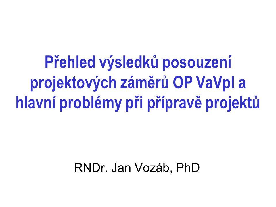 návaznost na výzkumné projekty – pro projekty EU ne zcela dostatečné málo četné záměry připravovat projekty do OP VpK, nebo do jiných prioritních os OP VaVpI (např.