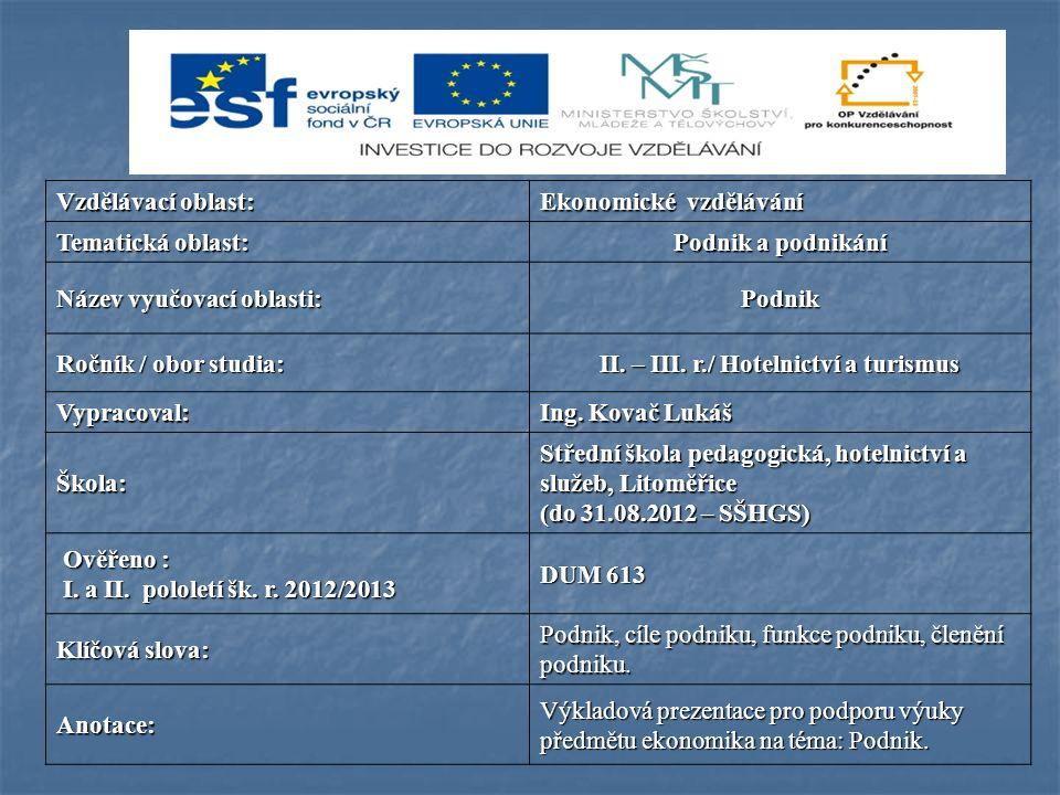 Vzdělávací oblast: Ekonomické vzdělávání Tematická oblast: Podnik a podnikání Název vyučovací oblasti: Podnik Ročník / obor studia: II. – III. r./ Hot