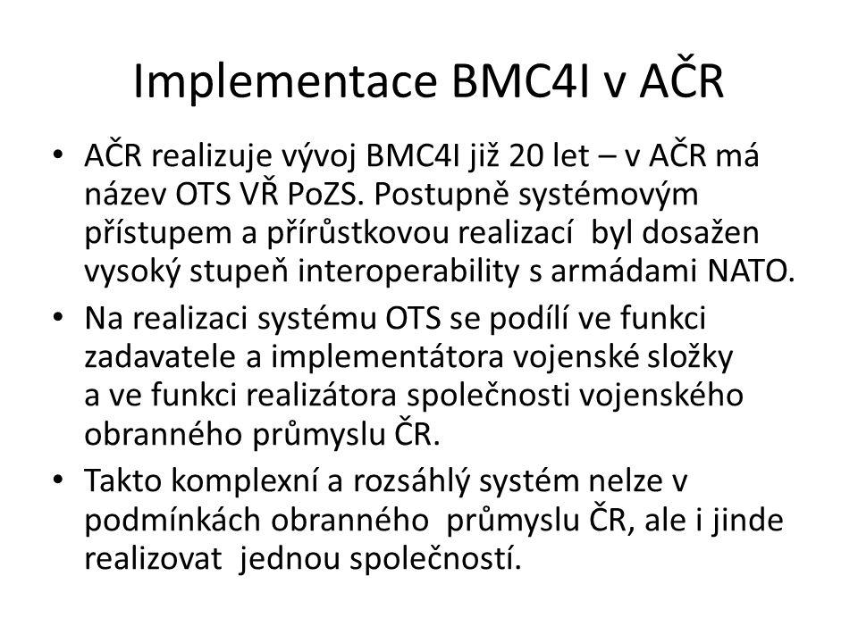 Implementace BMC4I v AČR AČR realizuje vývoj BMC4I již 20 let – v AČR má název OTS VŘ PoZS.