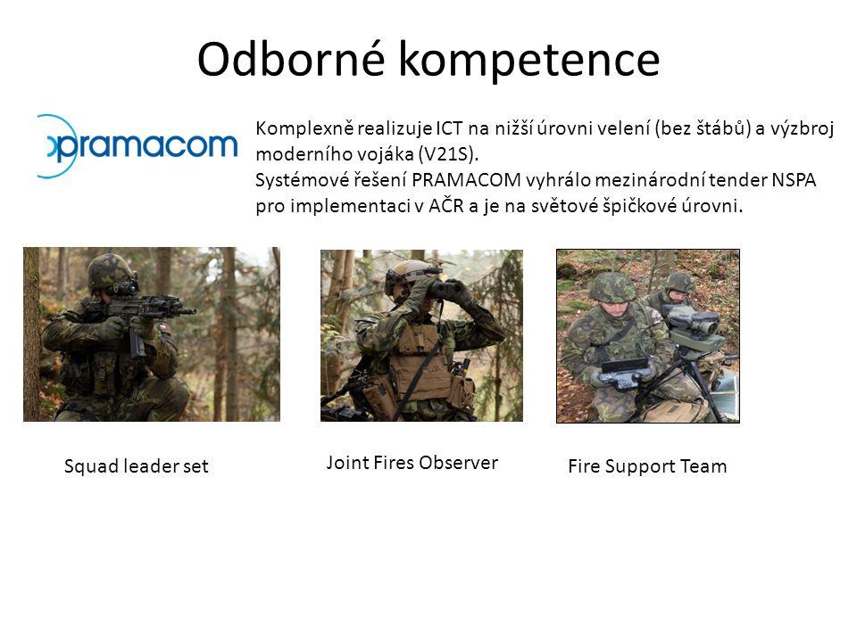 Odborné kompetence Komplexně realizuje ICT na nižší úrovni velení (bez štábů) a výzbroj moderního vojáka (V21S).