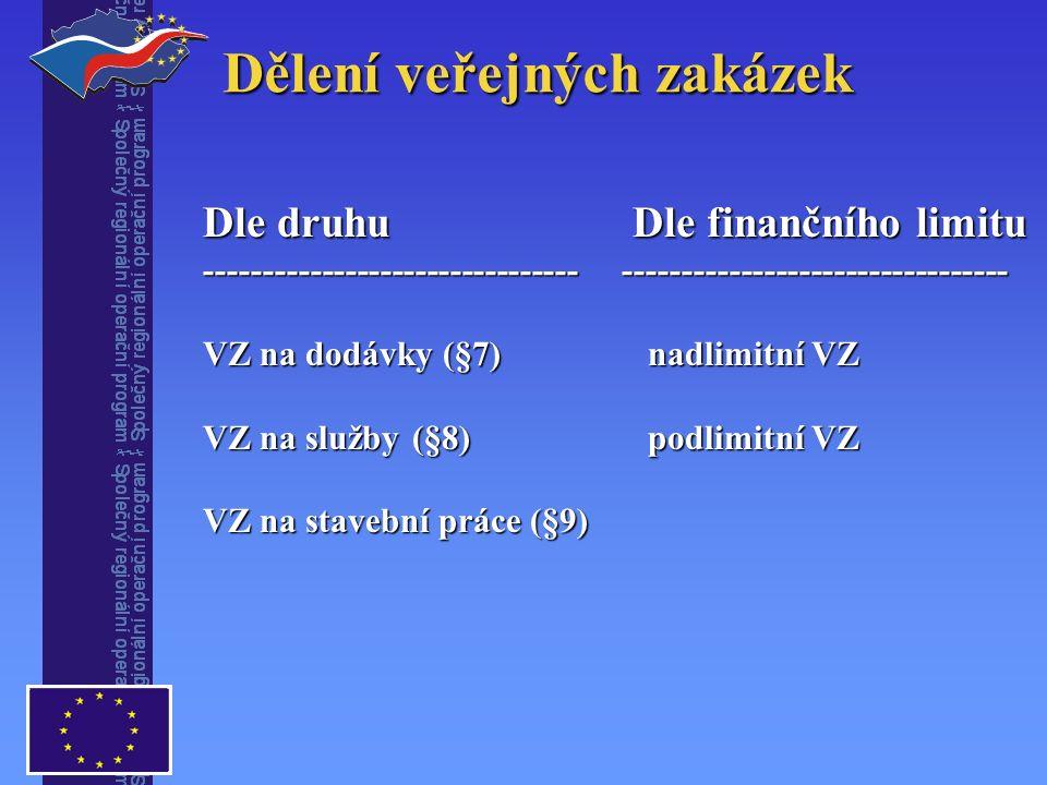 Dělení veřejných zakázek Dle druhu Dle finančního limitu ----------------------------------------------------------------- VZ na dodávky (§7) nadlimitní VZ VZ na služby(§8) podlimitní VZ VZ na stavební práce (§9)
