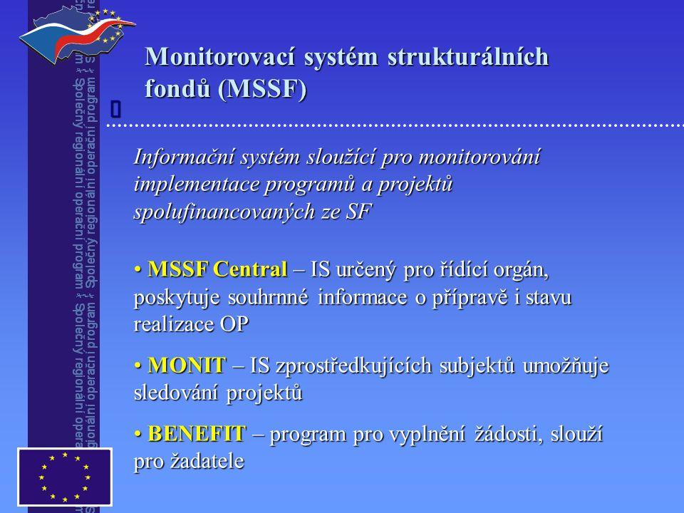 Monitorovací systém strukturálních fondů (MSSF) Informační systém sloužící pro monitorování implementace programů a projektů spolufinancovaných ze SF MSSF Central – IS určený pro řídící orgán, poskytuje souhrnné informace o přípravě i stavu realizace OP MSSF Central – IS určený pro řídící orgán, poskytuje souhrnné informace o přípravě i stavu realizace OP MONIT – IS zprostředkujících subjektů umožňuje sledování projektů MONIT – IS zprostředkujících subjektů umožňuje sledování projektů BENEFIT – program pro vyplnění žádosti, slouží pro žadatele BENEFIT – program pro vyplnění žádosti, slouží pro žadatele 