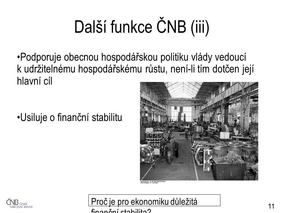 11 Další funkce ČNB (iii) Podporuje obecnou hospodářskou politiku vlády vedoucí k udržitelnému hospodářskému růstu, není-li tím dotčen její hlavní cíl