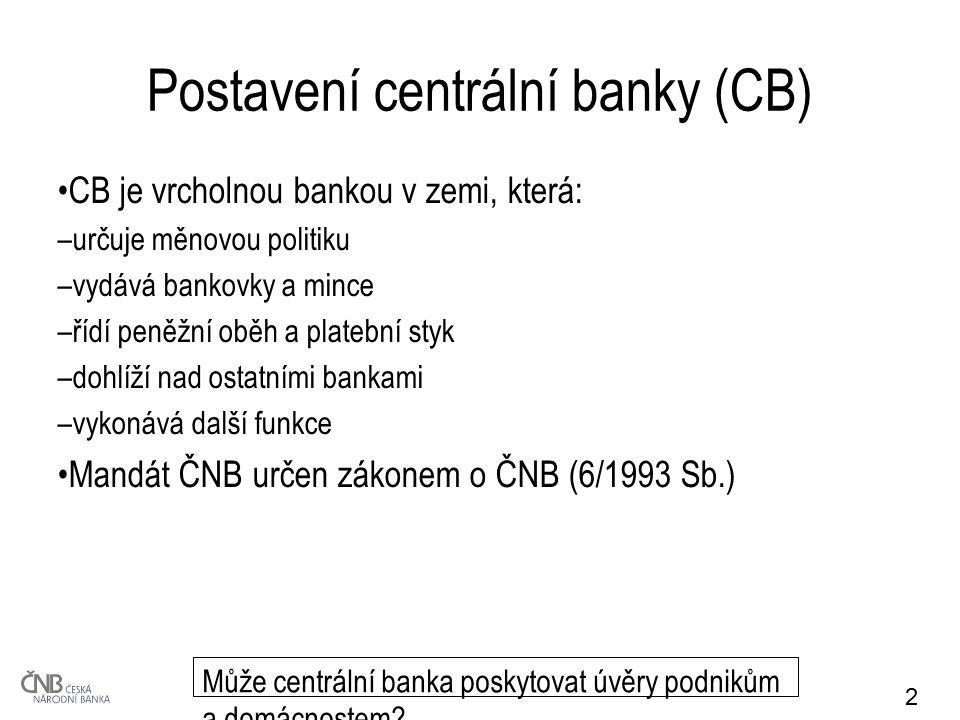 2 Postavení centrální banky (CB) CB je vrcholnou bankou v zemi, která: –určuje měnovou politiku –vydává bankovky a mince –řídí peněžní oběh a platební