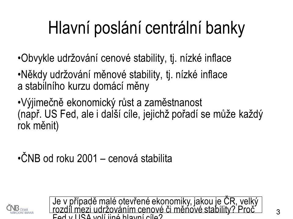 3 Hlavní poslání centrální banky Obvykle udržování cenové stability, tj. nízké inflace Někdy udržování měnové stability, tj. nízké inflace a stabilníh