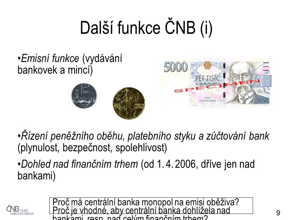 10 Další funkce ČNB (ii) Devizové funkce (stanovení kurzového režimu, vyhlašování kurzu koruny, správa devizových rezerv, operace se zlatem) Banka státu (vedení účtů vládě a místním orgánům, pomoc při umístění emisí jejich cenných papírů na trhu X ALE zákaz přímého i nepřímého financování vládního sektoru) K čemu podle Vás slouží devizové rezervy.